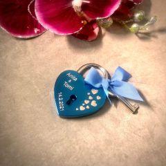 Ljubezenska ključavnica z gravuro srce - modra I AFORUM.shop