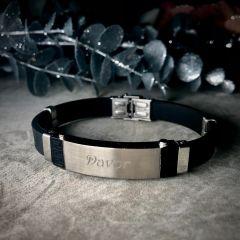AFORUM.shop I Moška zapestnica iz kavčuka Akzent A503078 z diamantno gravuro