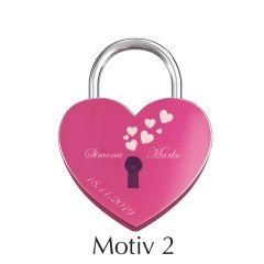 Ljubezenska ključavnica z gravuro srce - roza I Motiv 2