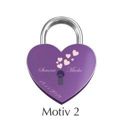 Ljubezenska ključavnica z gravuro srce - vijolična I Motiv 2