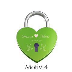 Ljubezenska ključavnica z gravuro srce - zelena I Motiv 4