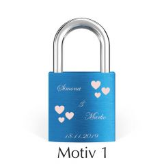 Ljubezenska ključavnica z gravuro - modra (različni motivi)
