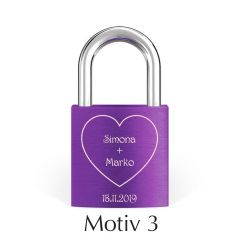 Kljucavnica ljubezni z diamantno gravuro vijolicna - motiv3 I AFORUM