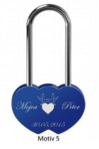 Ljubezenska ključavnica z gravuro dvojno srce - modra (različni motivi)