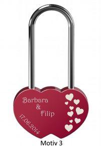 Ljubezenska ključavnica z gravuro dvojno srce - rdeča (različni motivi)