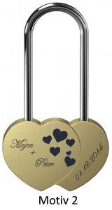 Ljubezenska ključavnica z gravuro dvojno srce - zlata-V (različni motivi)