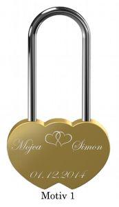 Ljubezenska ključavnica z gravuro dvojno srce - zlata (različni motivi)