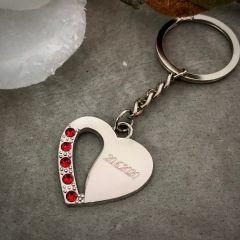 """Obesek za ključe Carissimi """"Heart"""" C0574R z diamantno gravuro"""