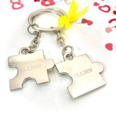 Obeska za ključe puzzli - srebrn z diamantno gravuro I AFORUM.shop